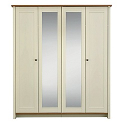 Consort Furniture - Oak and cream 'Ruffel' 4-door wardrobe