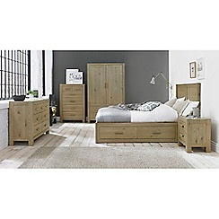 Debenhams - Oak 'Turin' bed frame with 4 drawers and headboard