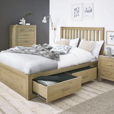 Debenhams Oak Turin Bed Frame With 4 Drawers And Slatted Headboard