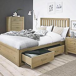 Debenhams - Oak 'Turin' bed frame with 4 drawers and slatted headboard