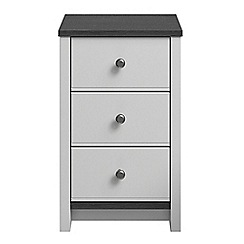 Consort Furniture - Grey 'Ruffel' bedside cabinet with 3 drawers