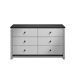 Consort Furniture - Grey 'Ruffel' 6 drawer chest