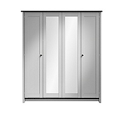 Consort Furniture - Grey 'Ruffel' 4-door wardrobe