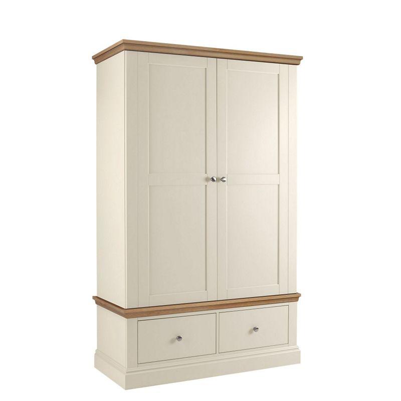 Debenhams Oak and cream Oxford double wardrobe with drawers