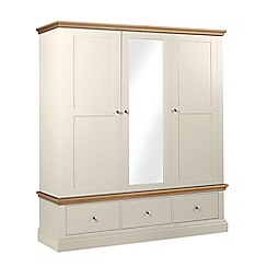 Debenhams - Oak and cream 'Oxford' triple wardrobe with drawers