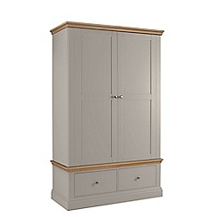 Debenhams - Oak and taupe 'Oxford' double wardrobe with drawers
