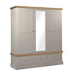Debenhams - Oak and taupe 'Oxford' triple wardrobe with drawers