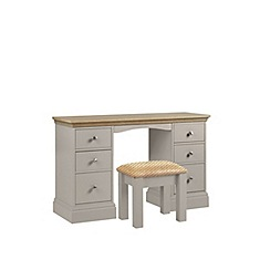 Debenhams - Oak and taupe 'Oxford' dressing table with stool