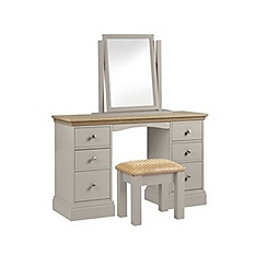 Debenhams - Oak and taupe 'Oxford' dressing table with mirror and stool