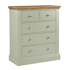 Debenhams - Oak and pale green 'Oxford' 5 drawer chest