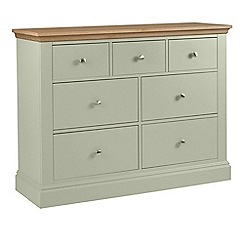 Debenhams - Oak and pale green 'Oxford' 7 drawer chest