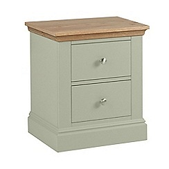 Debenhams - Oak and pale green 'Oxford' bedside cabinet with 2 drawers