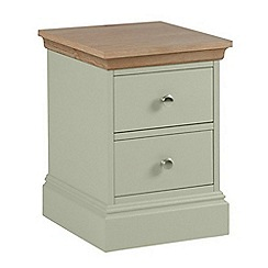 Debenhams - Oak and pale green 'Oxford' narrow bedside cabinet with 2 drawers