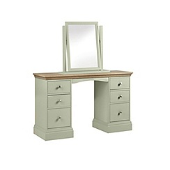 Debenhams - Oak and pale green 'Oxford' dressing table with mirror