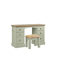 Debenhams - Oak and pale green 'Oxford' dressing table with stool