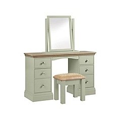 Debenhams - Oak and pale green 'Oxford' dressing table with mirror and stool