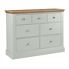 Debenhams - Oak and pale blue 'Oxford' 7 drawer chest