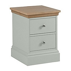 Debenhams - Oak and pale blue 'Oxford' narrow bedside cabinet with 2 drawers