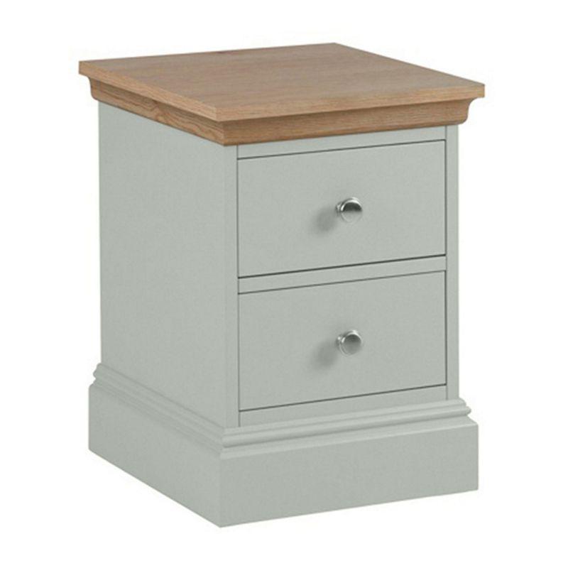 Debenhams Oak and Pale Blue oxford Narrow Bedside Cabinet