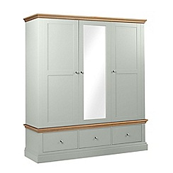 Debenhams - Oak and pale blue 'Oxford' triple wardrobe with drawers