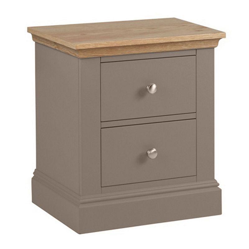 Debenhams Oak and dark grey Oxford bedside cabinet with 2