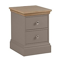 Debenhams - Oak and dark grey 'Oxford' narrow bedside cabinet with 2 drawers