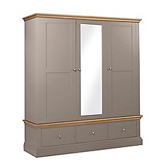 Debenhams - Oak and dark grey 'Oxford' triple wardrobe with drawers
