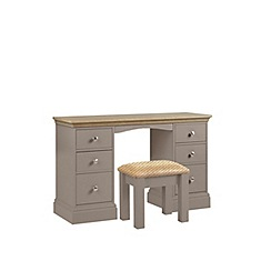 Debenhams - Oak and dark grey 'Oxford' dressing table with stool