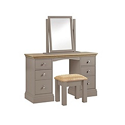 Debenhams - Oak and dark grey 'Oxford' dressing table with mirror and stool
