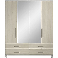 Debenhams - Elm effect 'Hazel' 4 door wardrobe with drawers and mirror