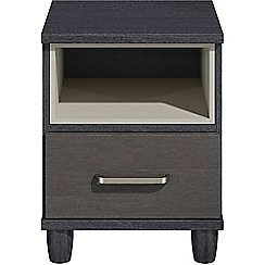 Debenhams - Black grain effect 'Hazel' bedside cabinet with drawer and light