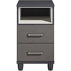 Debenhams - Black grain effect 'Hazel'  bedside cabinet with 2 drawers and light