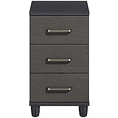 Debenhams - Black grain effect 'Hazel'  bedside cabinet with 3 drawers