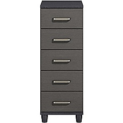 Debenhams - Black grain effect 'Hazel' narrow 5 drawer chest