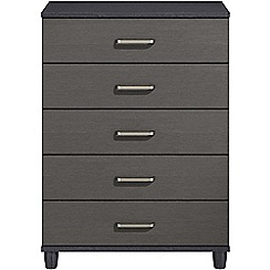 Debenhams - Black grain effect 'Hazel' 5 drawer chest