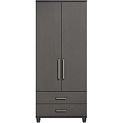 Debenhams - Black grain effect 'Hazel' double wardrobe with drawers