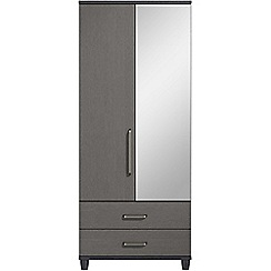 Debenhams - Black grain effect 'Hazel' double wardrobe with drawers and mirror