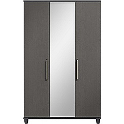 Debenhams - Black grain effect 'Hazel' triple wardrobe with mirror
