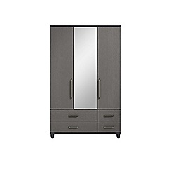 Debenhams - Black grain effect 'Hazel' triple wardrobe with drawers and mirror