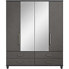 Debenhams - Black grain effect 'Hazel' 4 door wardrobe with drawers and mirror
