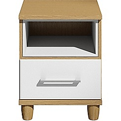 Debenhams - White gloss 'Hazel'  bedside cabinet with drawer and light