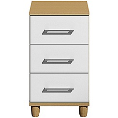 Debenhams - White gloss 'Hazel'  bedside cabinet with 3 drawers