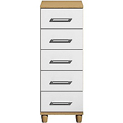 Debenhams - White gloss 'Hazel' narrow 5 drawer chest