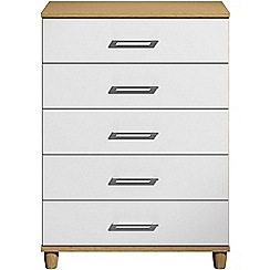 Debenhams - White gloss 'Hazel' 5 drawer chest
