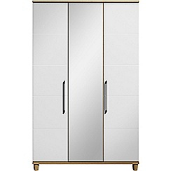 Debenhams - White gloss 'Hazel' triple wardrobe with mirror