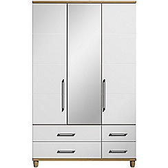 Debenhams - White gloss 'Hazel' triple wardrobe with drawers and mirror