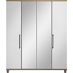 Debenhams - White gloss 'Hazel' 4 door wardrobe with mirror