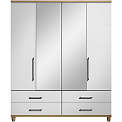 Debenhams - White gloss 'Hazel' 4 door wardrobe with drawers and mirror