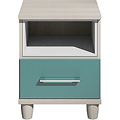 Debenhams - Turquoise gloss 'Hazel' bedside cabinet with drawer and light