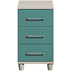 Debenhams - Turquoise gloss 'Hazel' bedside cabinet with 3 drawers